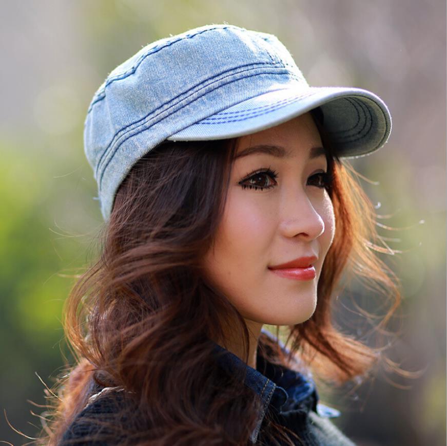3 Colors Female Cotton Twill Sun Hat Plain Denim Ajustable Baeseball Cap For Women Couble Flat Cadet Military Cap Men(China (Mainland))