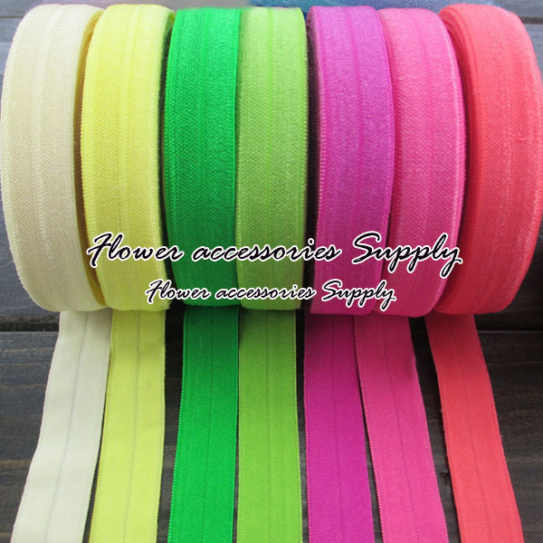 Sold By Yard 100 Yard/lot 40 colors Solid Fold over Elastic Headbands Shimmery Foe Hairbands For Baby Girls Hair Accessories.(China (Mainland))