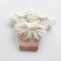2014 New,girls princess tops,children cotton t shirts tees,long sleeve,lace collar,3 colors,5 pcs/lot,wholesale,1838