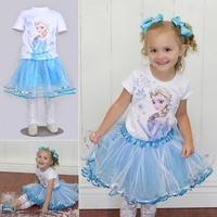 5set Children girl's set 2014 summer girl Frozen short sleeve white t-shirt+short light blue TUTU skirt  two-piece/set 17838