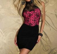 1set/lot Ladies Halterneck Mini Evening Dress Women See Through Sleeveless Lace Party Clubbing Mini Dress Sexy Chic