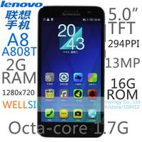 "Original Lenovo A8 A808T Multi language Mobile phone 5.0""TFT 1280x720 MT6592 Octacore1.7G 2GRAM 16GROM  Android 4.4 13MP"