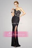 Black One Shoulder Appliqued Beaded Sleeveless Mermaid Prom Dresses