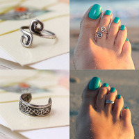 1pc Women Fashion Foot Jewelry  Unique Retro Antique SilverToe Ring