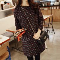 Women's Colorful Polka Dot Elegant 2014 Long Sleeve Winter Dress New Office Wear Party Dresses Autumn Vestidos