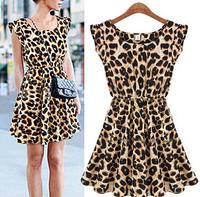 Hot Sale In Stock S-XXL Plus Size Sexy vestido Leopard Print Casual Mini Sun Dress Sleeveless Summer 2014 American Apparel
