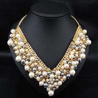 Wholesale Europe Style Fashion Brand Jewelry Women Costume Pearl Choker Jewelry  Pendant statement necklace