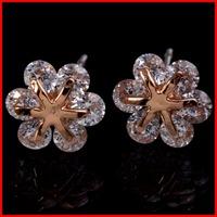New Top AAA Swiss CZ Flower Stud Earrings Snowflake Stud Earrings - SKBTQ
