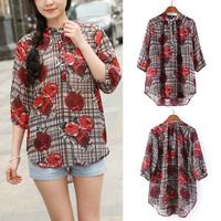 Fashion Casual Flowers Print Pattern Plaid Long Sleeve Blouse Chiffon Shirt Women Tops Drop Shipping WF-8400