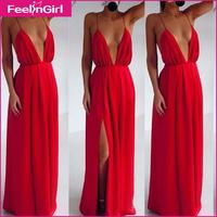 Beach Dress Backless Deep V-neck Women Dresses Summer Long Dress High Split Sexy Red Backless Sexy Clubwear Vestidos Pleated