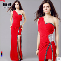 Special Promotion!2014 New Chiffon Sequins Rhinestones One Shoulder Lady Formal Long Party Gown Prom Evening Dresses,3 Colors