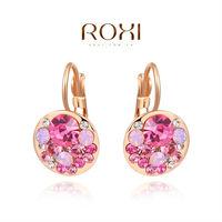 ROXI Brands fashion women Cube earring,18Kgold plated,clear Austrian crystal Love gift to girlfriend High Quality LU