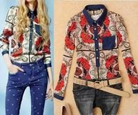 2014 New Autumn & Spring Women Blouse Full Sleeve Turn Down Jeans Collar European Patchwork Style Fashion Shirt  women tops