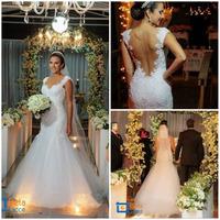 Vestidos De Noiva Sereia 2014 Sexy Sweetheart Appliques Lace Mermaid Wedding Dresses Bride Dress With Sheer Tulle Back