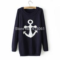 Women Knitwear Wool Stripe Navy Anchor Knit  Sweaters Pullover Cardigan Outwear Wholesale