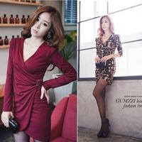 2014 new fashion autumn Sexy leopard deep v evening dress charming slim fit club dress elegant mini bandage bodycon women dress