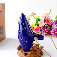 High Qualty 12 Hole Ocarina Ceramic Alto C Legend of Zelda Zelda Ocarina Flute Blue Free shipping(China (Mainland))