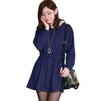 Classic Look O-neck Elastic Waist Vestidos Casual Free Shipping 2014 Women Long Sleeve Mini Autumn Dress 8995