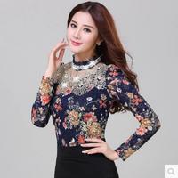 2014 Elegant Temperament Casual Women Base Shirt Plus Size Slim Flora Print Ladies Autumn Lace Tops Beading Crochet Sexy Blousa