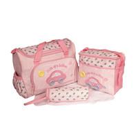 Hot Sell 4pcs/set Cute Car Cartoon 600D High-capacity Baby Mom Diaper Bags Mummy Bag With Zipper Free Shipping