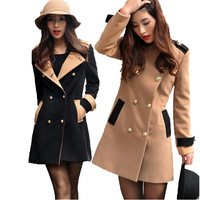 High Quality Slim Double Breasted Korean Casacos Femininos 2014 Fashion Patchwork Long Sleeve Women's Coats 6147