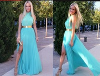 2014 Real Sample Turquoise Vestido Side Slit Gorgeous Pink Long Prom Dresses Party Gowns Chiffon Formal Evening Abendkleider