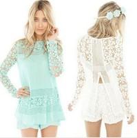 2014 Summer Women Lace Blouse Casual Blusas Femininas Vintage Long Sleeve Renda Crochet Lace Shirt Top Fashion Lace Blouses