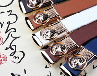2014 Fashion Animal Han edition smooth buckle belt Men eagle head metal  buckle  leather belt  PD133
