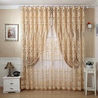Hollow out upscale blackout curtains for living room  jacquard fabric sheer curtain tulle