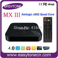 New Arrival Android 4.4 tv box MX III Amlogic S802 Quad Core media player Preinstall HD XBMC,YouTube,Netflix,4K video hd player