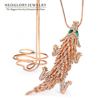 Neoglory Auden Rhinestone Animal Design Long Pendant Chain Necklaces Rose Gold Plated for Women Crystal Jewelry Accessories 2014