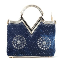 2014 new female bag fashionable new winter denim woven ladies handbags V set auger hand the bill of lading shoulder bags