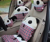 Free shipping Lovely Scotland grid panda car neck cushion pillow car headrest,Hold Pillow,Tissue Box ,Car Waistprotection Gift