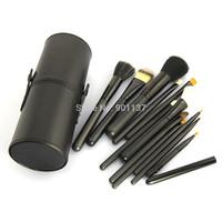 drop shipping new black professional makeup brush set 12pcs kit w/ leather cup holder case kit black colour CZ013