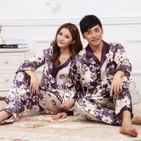 New Casual Sleep Nigthwear Autumn Winter Couples Sleepwear Costumes Pyjama Clothing Purple Home Silk Pajamas Set For Men Women