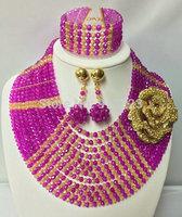 Splendid African Beaded Crystal Jewelry Set African Crystal Beads Jewelry Set for Wedding 2014 NEW Colors BJ15420