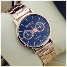 2014 New Fashion Brand Rose gold Steel Watches Men Quartz Watch Women dress Rhinestone ladies wristwatches Analog Orologio(China (Mainland))