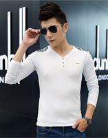 Free shipping 2014 Autumn Winter New Arrival Korean Style V-collar Long Sleeve T-shirt, 3 Colors Available!