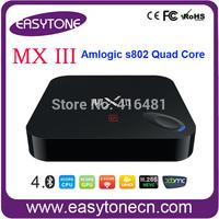 New 2014 Android 4.4 tv box MX III Amlogic S802 Quad Core 2GB+8GB media player HD XBMC,Bluetooth,Netflix,4K video hd player