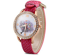 Hot Sale Diamond Ladies Watch Round Dial Stripe Leather Band Women Water Resistant Watches Tree Pattern 2014 Newest Watches