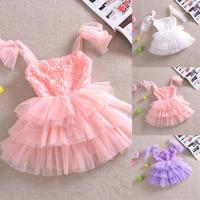 Princess Girls Dress Rose Floral Tulle Tutu Dress Sleeveless Party Costume
