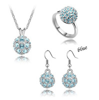 2014 New Fashion Necklace/Drop Earrings  gold/silver charm Jewelry Set ,TZ-1036