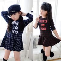 Girls Kids One Piece Dress Long Sleeve Plaids Flower Print Dress Clothing