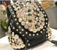 South Korea bucket bag multi button diamond tassel shoulders Shoulder Bag Messenger three usage Bag