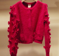2014 autumn winter women thin wool Cardigans sweater with bow by hand
