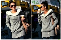 L365bB FreeShipping New 2014 Korea Women Hoodies Winter Coat Warm Zip Up Outerwear Sweatshirts Sport Suit Gray
