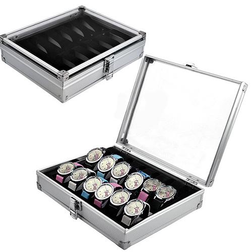 New Hot 12 Slots Watch Jewelry Display Case Organizer Gift Box Storage Aluminium Plastic Watch case freeshipping(China (Mainland))