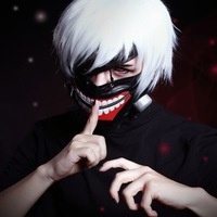 35 CM Long White Synthetic hair Fashion Male  wig Tokyo Ghoul Kaneki Ken Cosplay Wig With PU Mask cosplay  props
