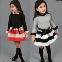 5pcs/lot 2014 autumn hot sale girls fashion striped and patchwork princess dress kids long sleeve dresses 011