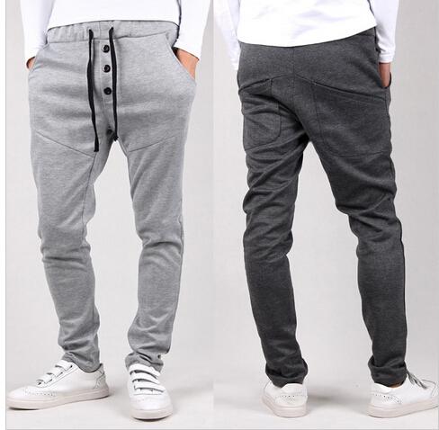 Large pocket baggy tapered bandana pants hip hop dance harem sweatpants drop crotch pants men parkour sport track trousers(China (Mainland))